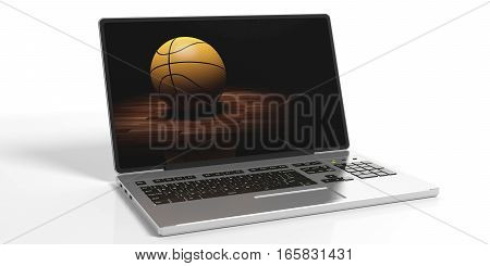 3D Rendering Basketball On A Laptop Screen