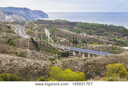 Sun Coast freeway on winter Nerja Malaga Spain