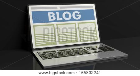 3D Rendering Blog On A Laptop's Screen