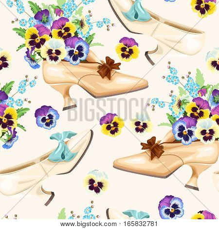 Vintage shoes and pansies vector seamless background