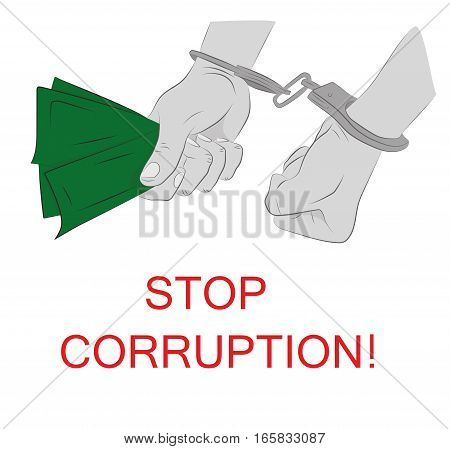 Hands in handcuffs. stop corruption. vector illustration.