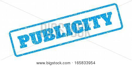 Blue rubber seal stamp with Publicity text. Vector message inside rounded rectangular banner. Grunge design and scratched texture for watermark labels. Inclined blue sticker on a white background.