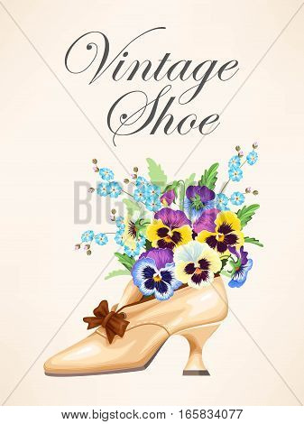 Vector illustration of vintage shoe with pansies