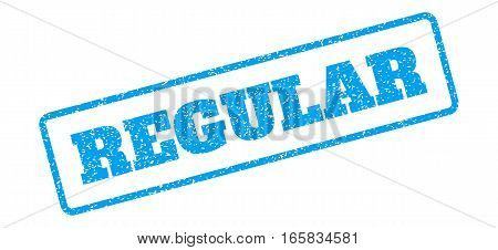Blue rubber seal stamp with Regular text. Vector message inside rounded rectangular shape. Grunge design and dust texture for watermark labels. Inclined sign on a white background.