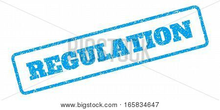Blue rubber seal stamp with Regulation text. Vector tag inside rounded rectangular shape. Grunge design and scratched texture for watermark labels. Inclined emblem on a white background.