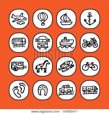 black and white icon set - transportation -