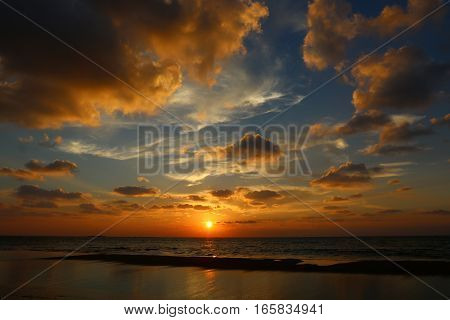 Sunset on the Mediterranean coast in the north of the State of Israel