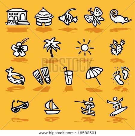 summer,holidays,sun icons set - illustrations - icons set -