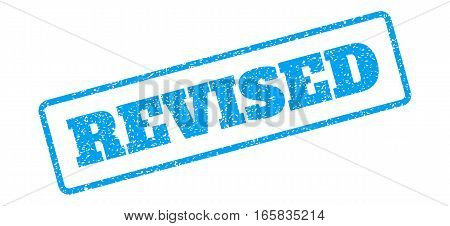 Blue rubber seal stamp with Revised text. Vector message inside rounded rectangular frame. Grunge design and unclean texture for watermark labels. Inclined emblem on a white background.