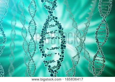 DNA molecule, structure. Close-up of concept human genome. 3d rendering Medicine concept.