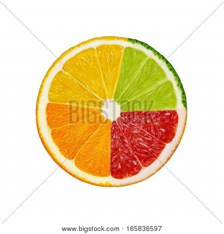 Slices of orange pink grapefruit lemon and lime fruits isolated on white background