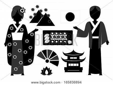 illustration in style of flat design on the theme of Japanese culture.