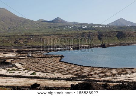 Area of salt production on the Canary island of Lanzarote, Spain