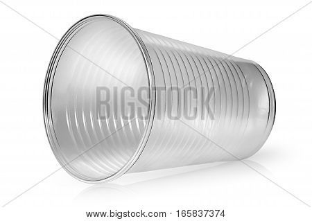 Lying horizontally plastic cup isolated on white background