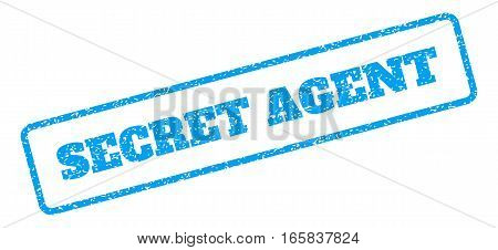 Blue rubber seal stamp with Secret Agent text. Vector tag inside rounded rectangular frame. Grunge design and unclean texture for watermark labels. Inclined sign on a white background.