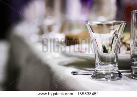 The photo shows a transparent glassware, glass