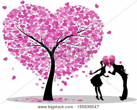 Dating Couple Silhouette Under Love Tree. Illustration
