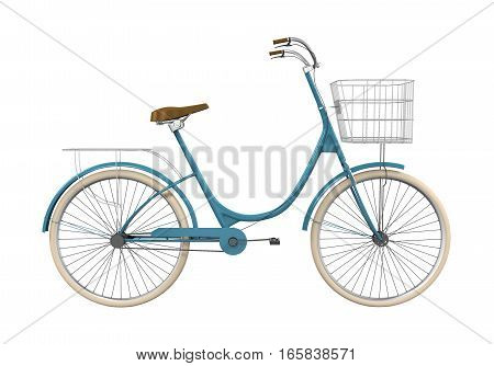 Vintage Bicycle isolated on white background. 3D render