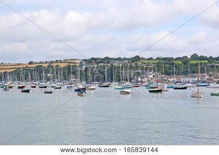 Boats moored on the River Fal in Falmouth