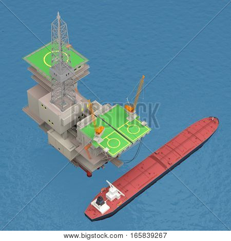 Oil platform with tankers on the sea. 3d rendering