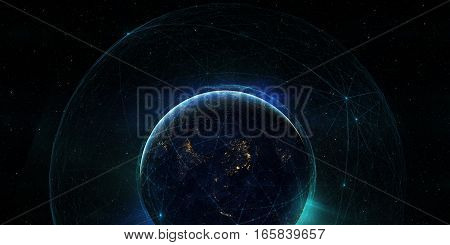 Connection lines Around Earth Globe Futuristic Technology Theme Background with Light Effect Elements of this image furnished by NASA. 3D illustration