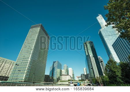 Skyscrapers With Glass Facade. Modern Buildings In Paris Business District. Concepts Of Economics, F