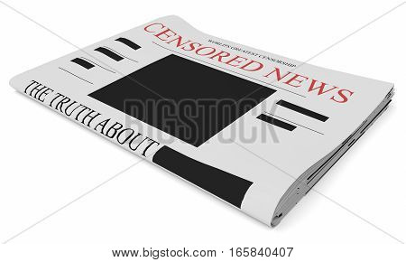Censorship News Concept: Newspaper 3d illustration on white background