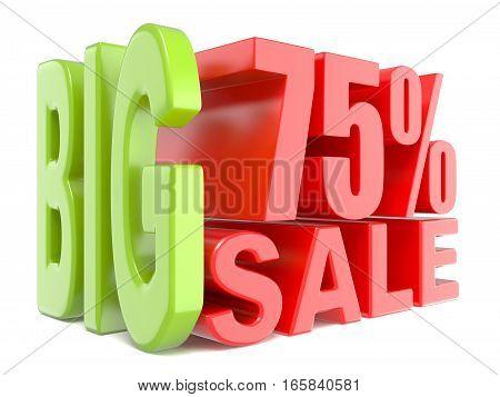 Big Sale And Percent 75% 3D Words Sign