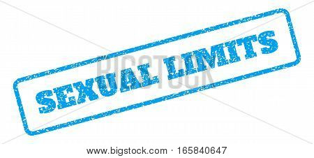 Blue rubber seal stamp with Sexual Limits text. Vector message inside rounded rectangular banner. Grunge design and unclean texture for watermark labels. Inclined emblem on a white background.