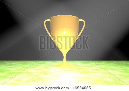Golden Cup Over Grass Field