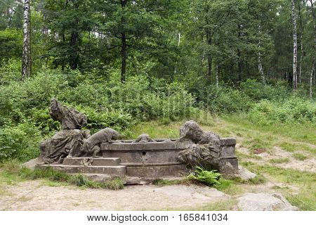 Well of Jacob - Kusk Forest Sculptures - complex of Baroque statues and relieves carved by famous sculptor Matthias Bernard Braun