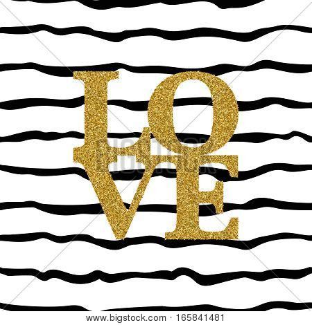 Seamless pattern with gold glitter text LOVE on striped background. Template for invitation card paper wrapping textile. Grunge style. Font Type