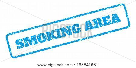 Blue rubber seal stamp with Smoking Area text. Vector caption inside rounded rectangular banner. Grunge design and dirty texture for watermark labels. Inclined blue sticker on a white background.