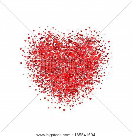 Valentines Day card. Postcard a heart containing little hearts
