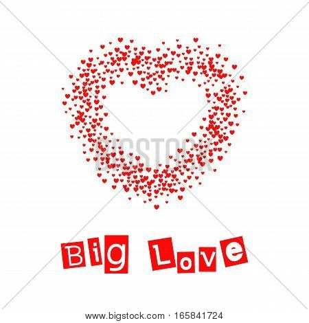 Valentines Day card. Postcard with the text Big Love and a heart containing little hearts