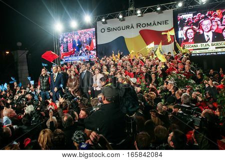 Bucharest Romania December 6 2009: Social Democrat Party with react after the first exit polls of presidential elections in Romania.