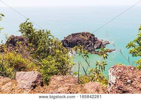 View of pacific ocean from portuguese ruins, Goa, India