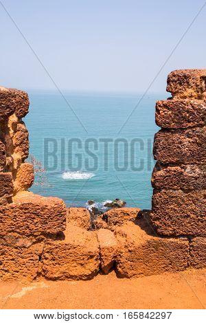 POrtuguese conquer ruins, Goa, India, Pacific ocean