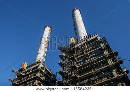 Bucharest Romania December 26 2009: Thermoelectric plant against the blue sky.