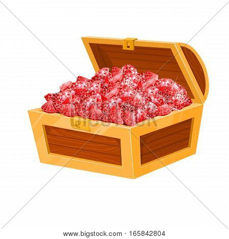Isolated chest with red rubies. vector illustration. Game desing.