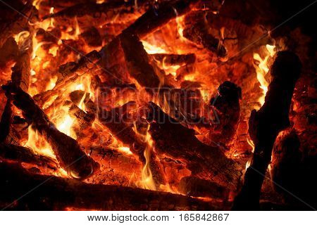 Macro of a bonfire with burning wood.