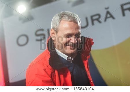 Bucharest Romania December 6 2009: The senior Social Democratic official Liviu Dragnea reacts after the first exit polls of presidential elections in Romania.