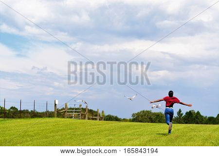 Girl running after birds that fly away