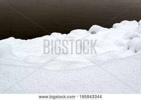 Deep Snow On A Riverbank