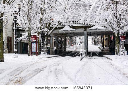 Downtown Portland Street In Snow
