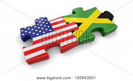 3D Illustration. USA and Jamaica puzzle from flags. Image with clipping path