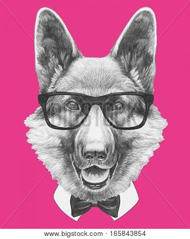 Portrait of German Shepherd with glasses and bow tie. Hand drawn illustration.