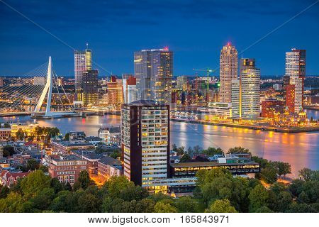 Rotterdam. Cityscape image of Rotterdam, Netherlands during twilight blue hour.