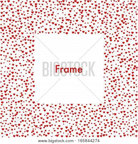 Frame heart halftone effect. Red dots on white background. Abstract dotted surface.