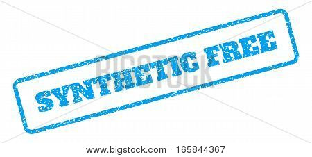Blue rubber seal stamp with Synthetic Free text. Vector caption inside rounded rectangular shape. Grunge design and dirty texture for watermark labels. Inclined blue sticker on a white background.